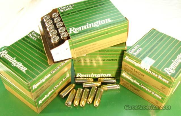 Ammo: 9mm 124 grain JHP Remington 250 Round Lot of 10 Boxes Golden Saber Bonded Jacketed Hollow Point Flying Ashtray Black Talon type Ammunition Cartridges 9 Luger Parabellum 9x19  Non-Guns > Ammunition