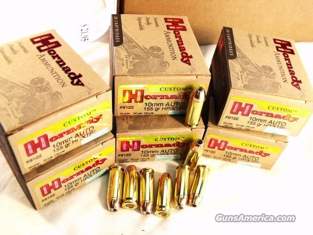 Ammo: 10mm Hornady 100 Round 1/2 Case Lot of 5 Boxes 155 grain XTP Hollow Point Ammunition Cartridges  Non-Guns > Ammunition