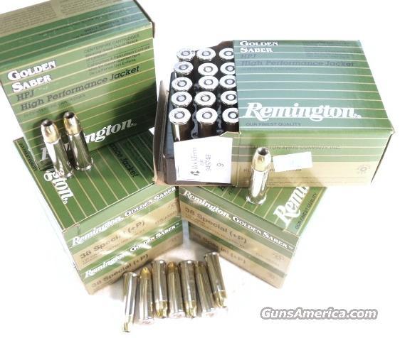 Ammo: .38 Special Golden Saber 125 Round Lot of 5 Boxes Remington 125 grain BJHP +P Bonded Jacketed Hollow Point Winchester Black Talon type Ammunition Cartridges  Non-Guns > Ammunition