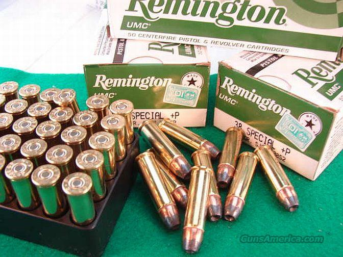 Ammo: .38 Special +P 500 Round Factory Case of 10 Boxes Remington UMC 125 grain JHP Jacketed Hollow Point High Performance 38 Spl Brass Case US Made Ammunition Cartridges  Non-Guns > Ammunition