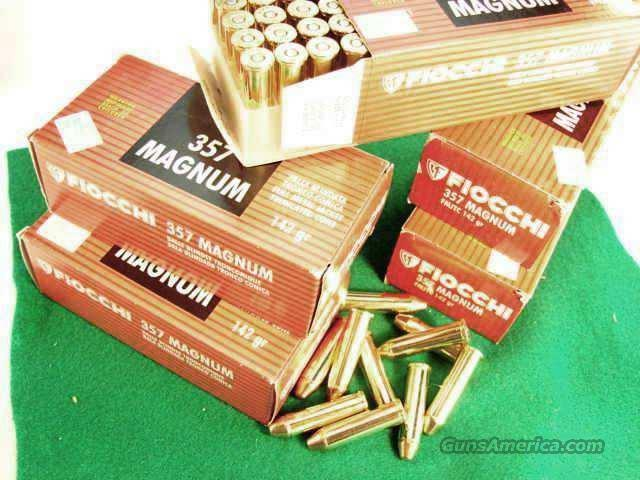 Ammo: .357 Magnum Fiocchi 200 Round Lot of 4 Boxes 142 grain Hornady TMJ FMC Total Full Metal Case Jacket 357 Mag Ammunition Cartridges  Non-Guns > Ammunition