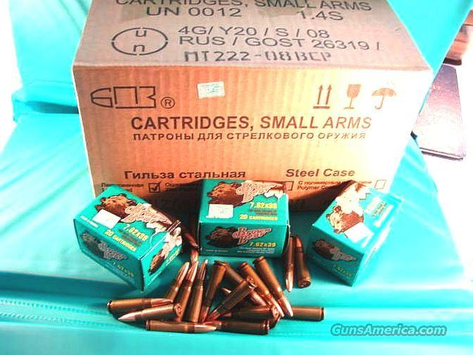 Ammo: 7.62 x 39 Russian 500 Round Case of 25 Boxes at $6.36 per Box 123 grain Hollow Point Brown Bear Ammunition Cartridges BB76239HP  Non-Guns > Ammunition