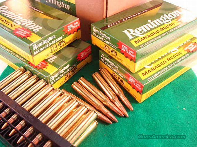 Ammo: .270 Managed Recoil Remington 120 Round Lot of 6 Boxes 115 grain PSP Core-Lokt Pointed Soft Point 270 Winchester Ammunition Cartridges Low Mild Recoil Kick  Non-Guns > Ammunition