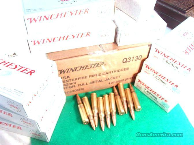 Ammo: .308 Winchester 147 grain FMC 20 Round Boxes Military 308 7.62 NATO Full Metal Jacket Case Ammunition Cartridges  Non-Guns > Ammunition