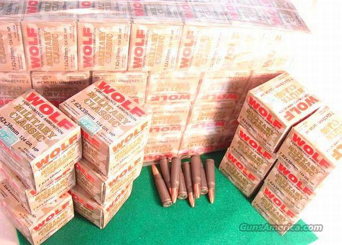 Ammo: 7.62 x 39 Wolf 20 Round Boxes Barnaul Russia 124 grain Hollow Point JHP  762x39   Non-Guns > Ammunition