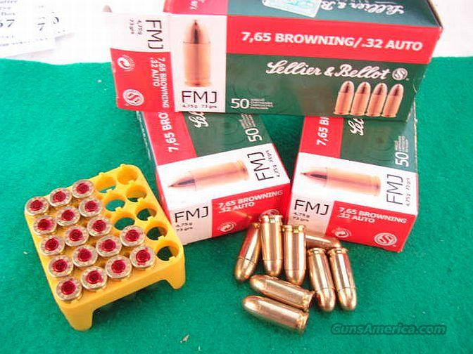Ammo: .32 ACP CZ S&B 50 Round Boxes 73 grain FMC 1040 fps Full Metal Case 32 Automatic 7.65 Browning Ammunition Cartridges Sellier & Bellot Czech Republic  Non-Guns > Ammunition