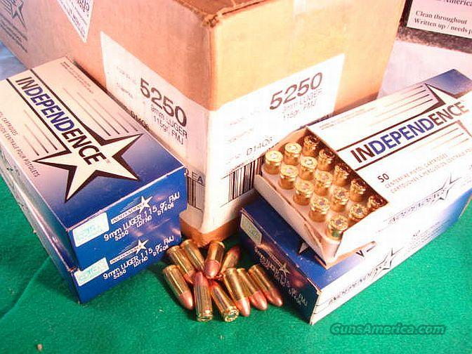 Ammo: 9mm Independence USA 1000 Round Case of 20 Boxes Federal CCI Affiliate 115 grain Full Metal Case Jacket FMC FMJ   Non-Guns > Ammunition