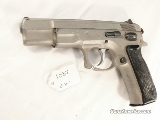 CZ-75 9mm Czech Police Satin Nickel 1994 SP01 type w/ 1 High Capacity 15 Shot Magazine CZ75 CZ model 75 Ceska Zbrojovka Double Action Automatic.  Guns > Pistols > CZ (Ceska ZBrojovka) Pistols
