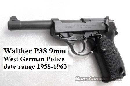 Walther 9mm P38 Lightweight Military P-38 German Federal Border Guard BGS CA C&R OK with 1 Factory 8 Shot Magazine  Guns > Pistols > Walther Pistols > Post WWII > P38