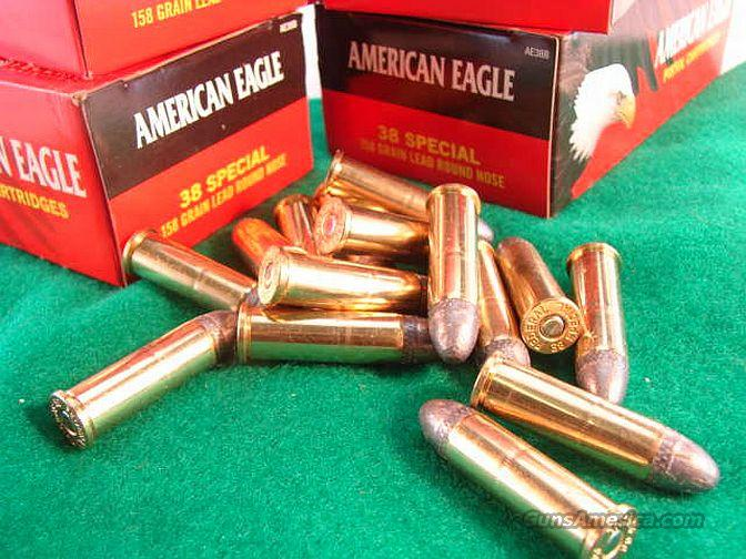 Ammo: .38 Special Federal 158 grain 300 Round Lot of 6 Boxes Lead Round Nose American Eagle 38 Spl RNL 750 fps Ammunition Cartridges AE38B  Non-Guns > Ammunition