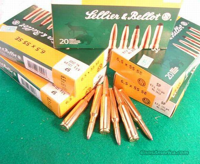 Ammo: 6.5x55 Swedish Mauser 20 Round Boxes S&B Czech 131 grain Soft Point Ammunition Cartridges 6555 6.5 by 55 Sweden Sellier & Bellot   Non-Guns > Ammunition