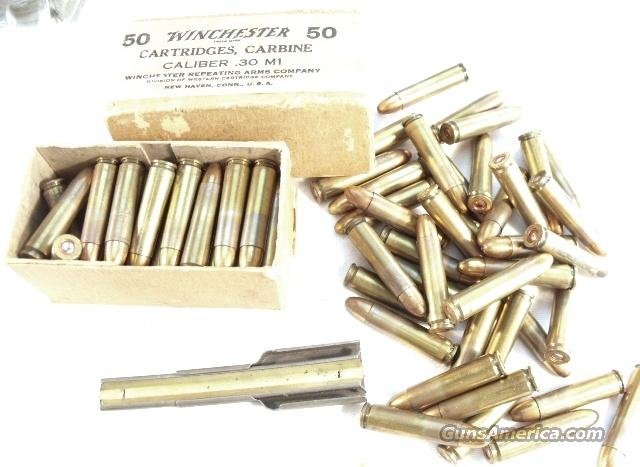 Ammo: .30 Carbine Winchester 75 Rds + Box 1945 Headstamp Exc  Non-Guns > Collectible Cartridges