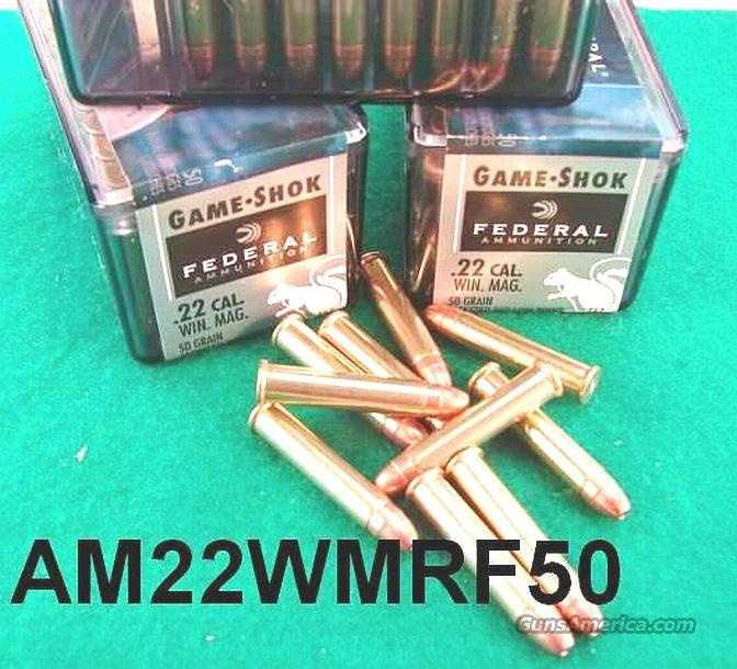 Ammo: .22 Magnum Federal 50 Round Boxes 50 grain Jacketed Hollow Point 22 Magnum WMR Ammunition Cartridges Game Shok Shock  Non-Guns > Ammunition