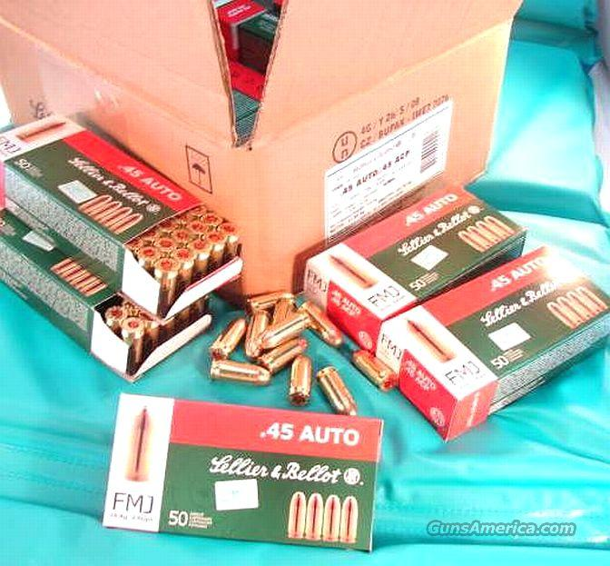 Ammo: .45 ACP S&B Czech 50 Round Boxes 230 grain FMC Brass Case 45 Automatic Full Metal Case Ammunition Cartridges   Non-Guns > Ammunition