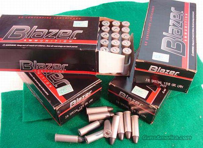 Ammo: .38 Special CCI Blazer 300 Round Lot of 6 Boxes 158 grain Lead Round Nose LRN 38 Spl Ammunition Cartridges non +P  Non-Guns > Ammunition