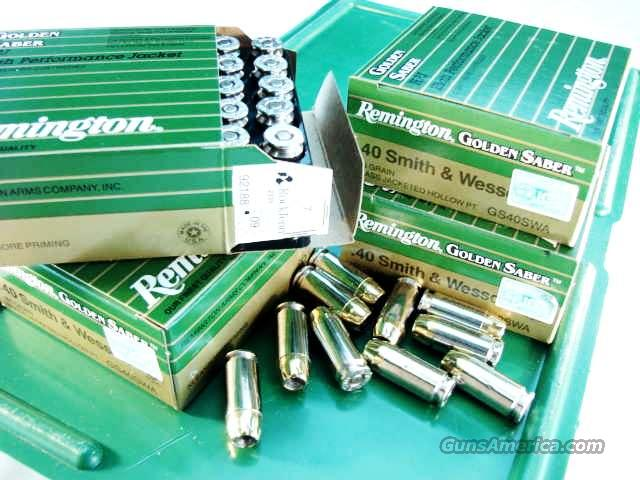Ammo: .40 S&W Remington Golden Saber 165 BJHP 25 round Boxes Ammunition Cartridges 40 Smith & Wesson Caliber Bonded Jacketed Hollow Point Winchester Black Talon type  Non-Guns > Ammunition