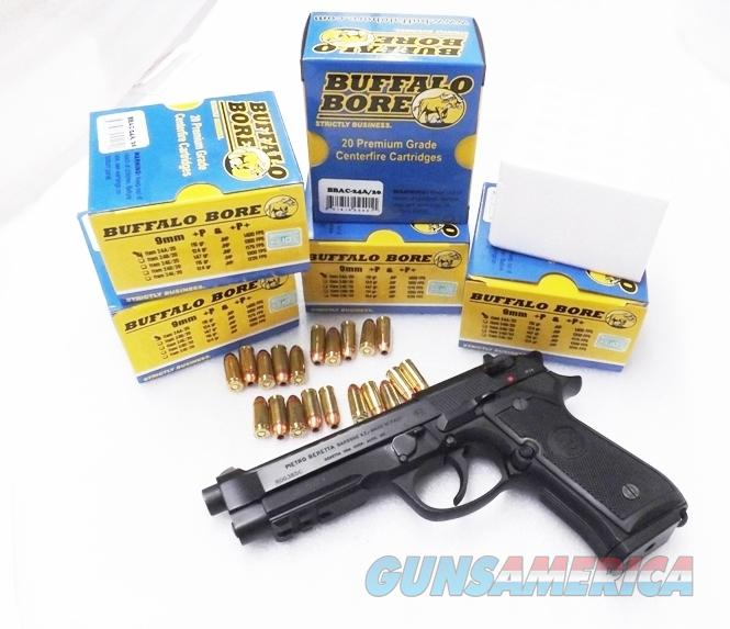 Ammo: 9mm +P+ Buffalo Bore 1400 fps 115 JHP $19.80 per box in 5 Box Lots of 100 rounds Cor Bon Competitor 24A20   Non-Guns > Ammunition