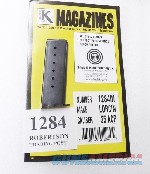 Lorcin .25 ACP model L25 Triple K 7 Shot Pistol Magazine 25 Automatic 1284M Blue Steel  Non-Guns > Magazines & Clips > Pistol Magazines > Other