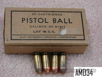 Ammo: Cold War Era 1962 Winchester – Olin Mathieson .45 ACP Full Box Exc  Non-Guns > Collectible Cartridges