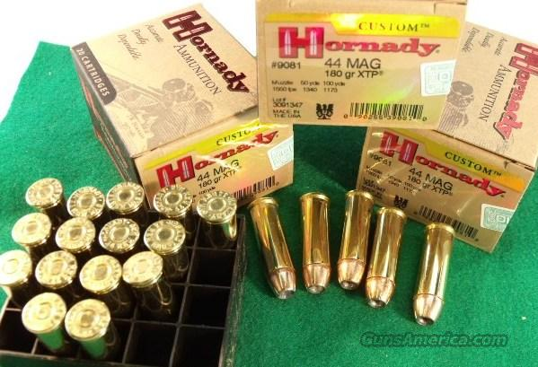 Ammo .44 Magnum 100 Round Lot of 5 Boxes Hornady 180 grain XTP Hollowpoint 1550 fps 44 Remington Mag Caliber Ammunition Cartridges  Non-Guns > Ammunition