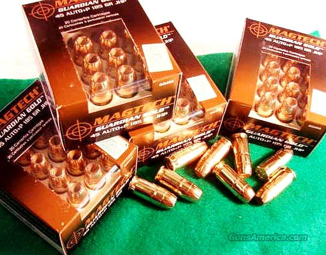 Ammo: .45 ACP +P 100 Round Lot of 5 Boxes Mag-Tech 185 grain JHP High Performance Mag Tech Teck Guardian Gold Flying Ashtray Black Talon type 45 Automatic Ammunition Cartridges  Non-Guns > Ammunition