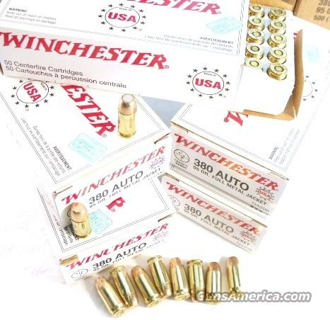 Ammo: .380 ACP Winchester 95 FMC 250 Round Lot of 5 Boxes 380 Automatic Ammunition Cartridges Full Metal Jacket Case 9mm Kurz  Non-Guns > Ammunition