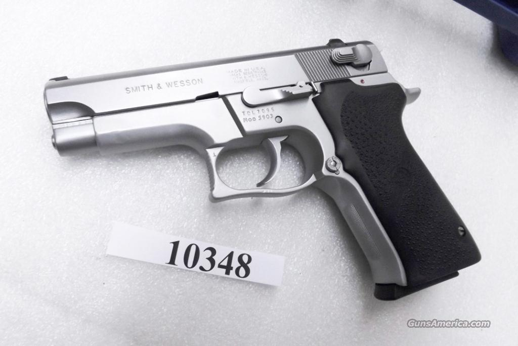 Smith & Wesson 9mm model 5903 Lightweight Stainless 16 Shot  S&W 9mm 5903 Stainless Lightweight 16 Shot VG Atlanta PD 1988 First Yr of Prod  Guns > Pistols > Smith & Wesson Pistols - Autos > Alloy Frame