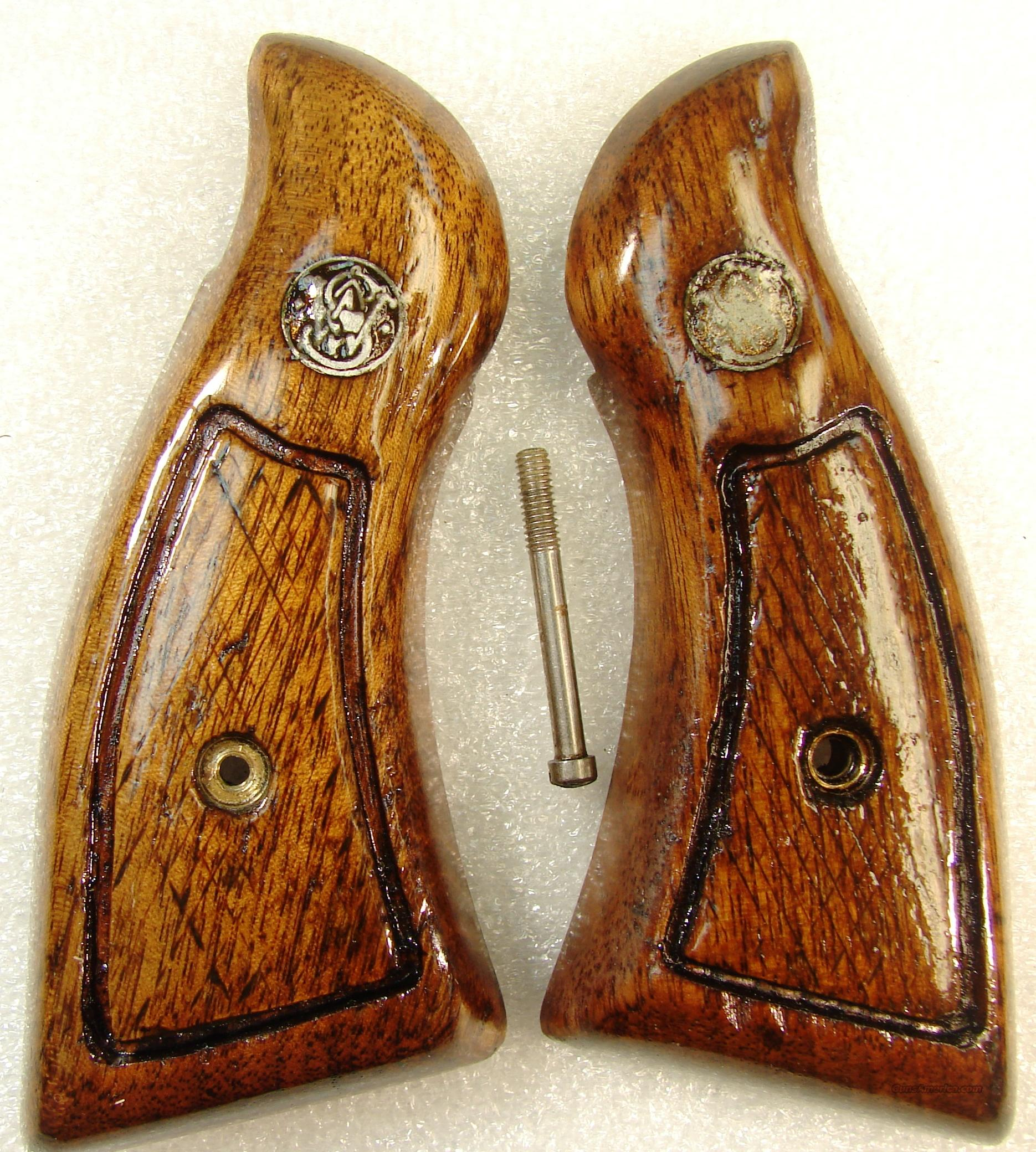 Grips S&W K L Square Butt Service Magna style 1970s Goncalo Alves Good Refinish Smith & Wesson  Non-Guns > Gunstocks, Grips & Wood