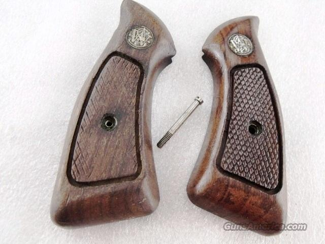 Grips S&W J Square Factory Walnut Magna Service Good Refinish 1970s Smith & Wesson J Square Butt Revolver   Non-Guns > Gunstocks, Grips & Wood
