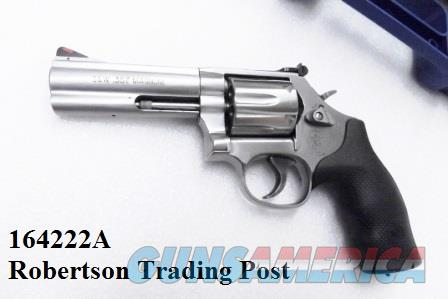 Smith & Wesson .357 Magnum model 686-6 Stainless 4 inch Full Lug Heavy Barrel Red Ramp White Outline 6 Shot 357 Mag 38 S&W Special Interchangeably NIB A Stamped CA OK  Guns > Pistols > Smith & Wesson Revolvers > Full Frame Revolver