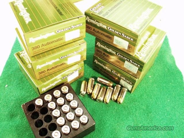 Ammo: .380 Remington JHP 150 round Lot of 6 Boxes Golden Saber 102 grain Bonded Jacketed Hollow Point Flying Ashtray Black Talon type Ammunition Cartridges 380 Automatic 9mm Kurz GS380B  Non-Guns > Ammunition