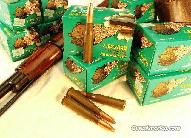 Ammo: 7.62 x 54 Russian 200 Round Lot of 10 Boxes 203 Soft Point Barnaul Brown Bear 762 Russian 76254R Barnaul  Non-Guns > Ammunition