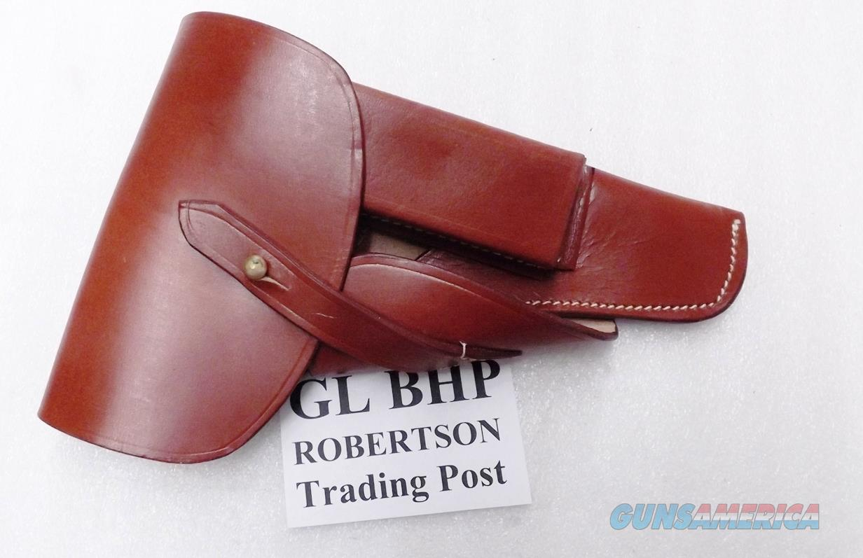 Browning Hi-Power Holster World War II German type Brown Leather Flap with Magazine Pouch Waffenamt Markings CZ75 Round Trigger Guard Only Witness   Non-Guns > Holsters and Gunleather > Large Frame Auto