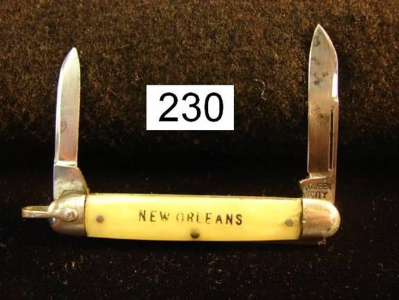 Knife: Queen City New Orleans Tourist Pen Knife 1950s  Non-Guns > Knives/Swords > Knives > Folding Blade > Hand Made