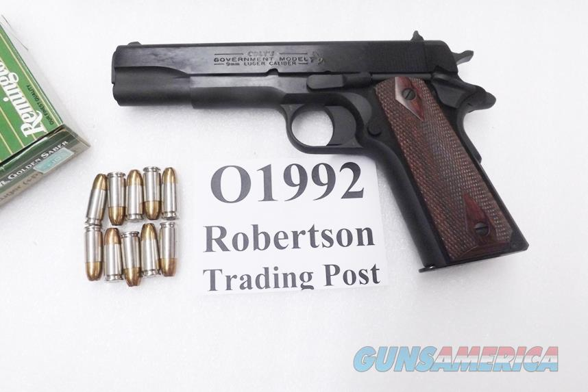 Colt 9mm 5 inch Blue Government Model NIB 2 Magazines 10 shot 1911 O1992 Rosewood Laminate Grips   Guns > Pistols > Colt Automatic Pistols (1911 & Var)