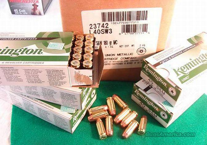 Ammo: .40 S&W Remington 50 Round Boxes 180 grain FMC 40 Smith & Wesson Caliber Full Metal Case Jacket Ammunition Cartridges L40SW3  Non-Guns > Ammunition