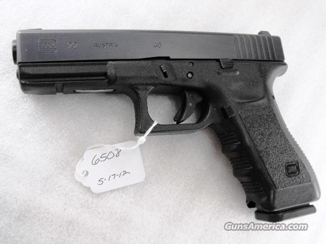 Glock .40 S&W model 22 Third Generation Indiana Excise Police ca 2006 Excellent Night Sights Rail One 15 Shot Magazine 40 Smith & Wesson Caliber 3rd Gen   Guns > Pistols > Glock Pistols > 22