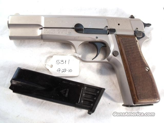 FN Browning 9mm Hi-Power Israeli VG Satin Nickel 1980 w/2 Magazines  Guns > Pistols > Browning Pistols > Hi Power
