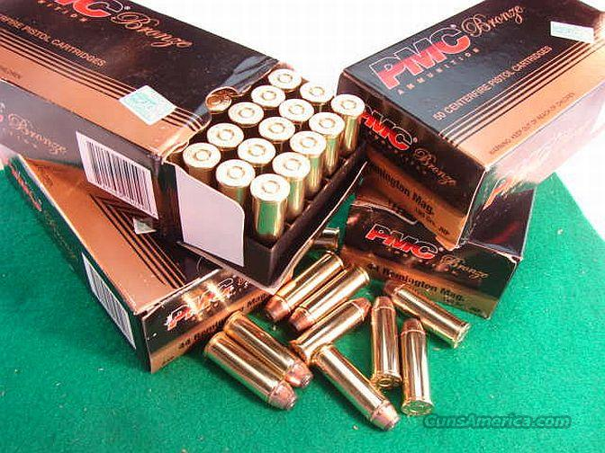 Ammo: .44 Magnum 200 round Lot of 4 Boxes PMC 180 grain JHP Jacketed Hollowpoint 44 Remington Magnum Caliber Ammunition Cartridges  Non-Guns > Ammunition
