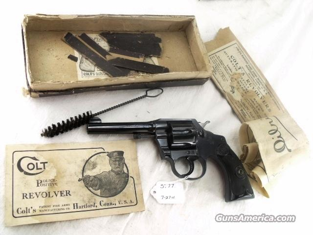 Colt .38 S&W / New Police Caliber Police Positive 4 inch Excellent with Original Box Manufactured 1914 Joplin MO Domicile  Guns > Pistols > Colt Double Action Revolvers- Pre-1945
