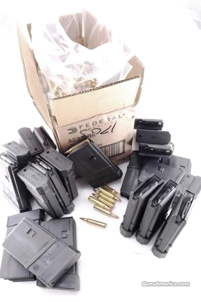 Ammo: .223 Federal American Eagle Special with 20 Thermold AR-15 Magazines New 223 Remington 5.56 NATO Caliber with Unissued Master Molder LE Ban Period Mags  Non-Guns > Ammunition