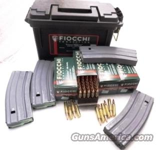 Ammo: .223 Fiocchi 200 Round Ammo Can with 4 Colt 30 Shot Magazines Hornady V-Max Ballistic Tip 50 grain Bullets 223 Remington Ammunition Cartridges 5.56 556 NATO  Non-Guns > Ammunition