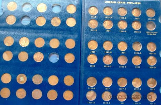 Coins US Lincoln Set 1909-40 Less 7 Coins   Non-Guns > Coins