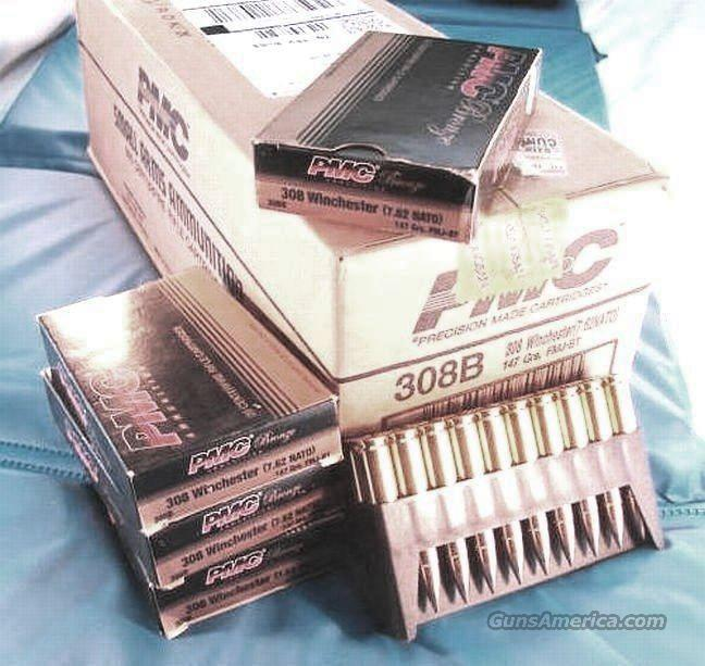 Ammo: .308 FMC 147 grain 500 round case of 25 boxes PMC Full Metal Jacket Brass Case Ammunition Cartridges 25x$14.76 308 Winchester or 7.62 NATO caliber   Non-Guns > Ammunition