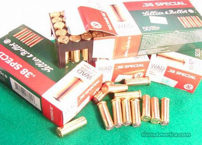 Ammo: .38 Special Match S&B Czech  500 Round Lot of 10 Boxes 148 grain HBWC 38 Spl Wadcutter Ammunition Catridges  Non-Guns > Ammunition