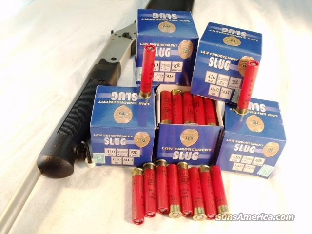 Ammo: .410 gauge Slug 150 Round Lot of 6 Boxes 2 1/2 inch 1/5 oz 1200 fps Nobel Law Enforcement 410 ga Rifled Slug Ammunition Shotgun Shells Shotshells Cartridges.  Non-Guns > Ammunition