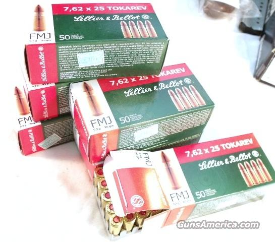 Ammo: 7.62x25 Tokarev S&B Czech 50 Round Boxes 85 grain FMC 30 Tokarev 762 Ammunition Cartridges $19.80 per Box on 5 Box Lots   Non-Guns > Ammunition