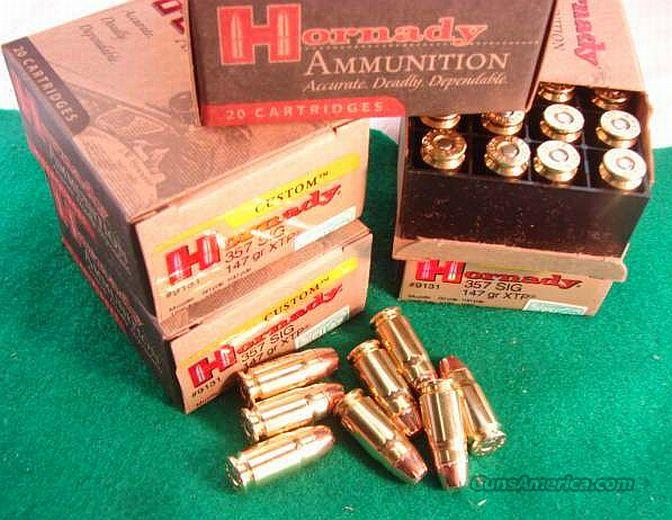 Ammo: .357 Sig Hornady 120 Round Lot of 6 Boxes 147 grain XTP Hollowpoint 357 Sig caliber Automatic Ammunition Cartridges   Non-Guns > Ammunition