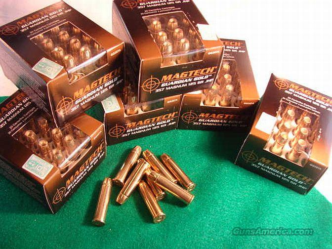 Ammo: .357 Mag-Tech 125 JHP Gold 20 round Boxes High Performance Guardian Gold 357 Remington Magnum Flying Ashtray Black Talon type Hollow Point Ammunition Cartridges  Non-Guns > Ammunition