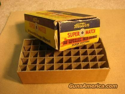 Ammo Box: Winchester-Western 1940s .38 Super Match VG Blem  Non-Guns > Collectible Cartridges